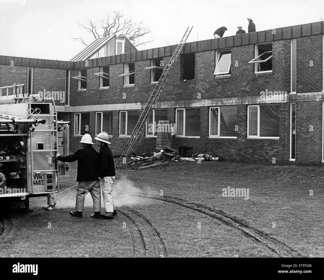 North Yorks Fire Brigade attend fire at the residential accommodation of the Friends School, Great Ayton. 19th February - Stock Image
