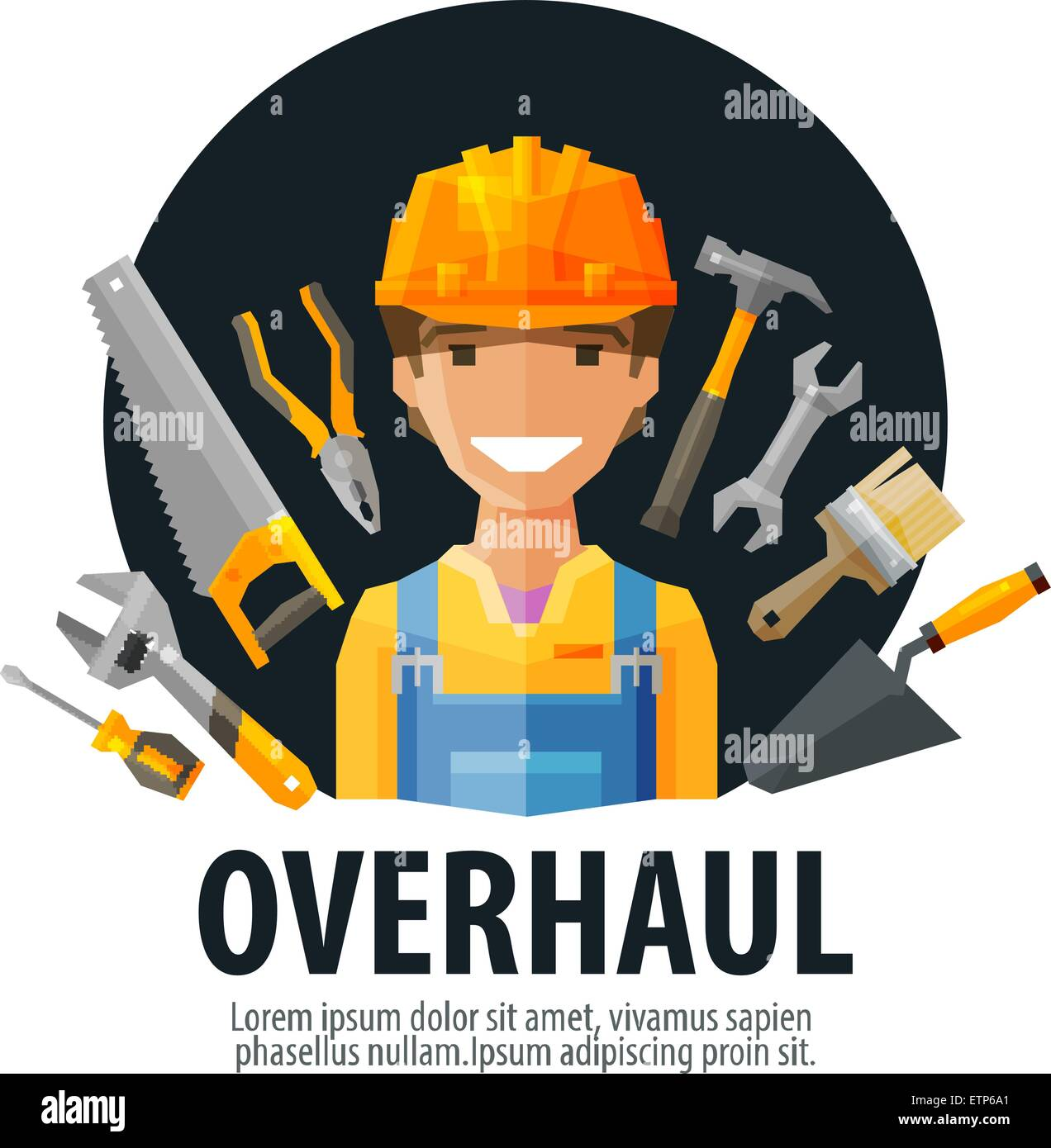 overhaul vector logo design template. worker and tools or builder, constructor, construction company icon - Stock Image