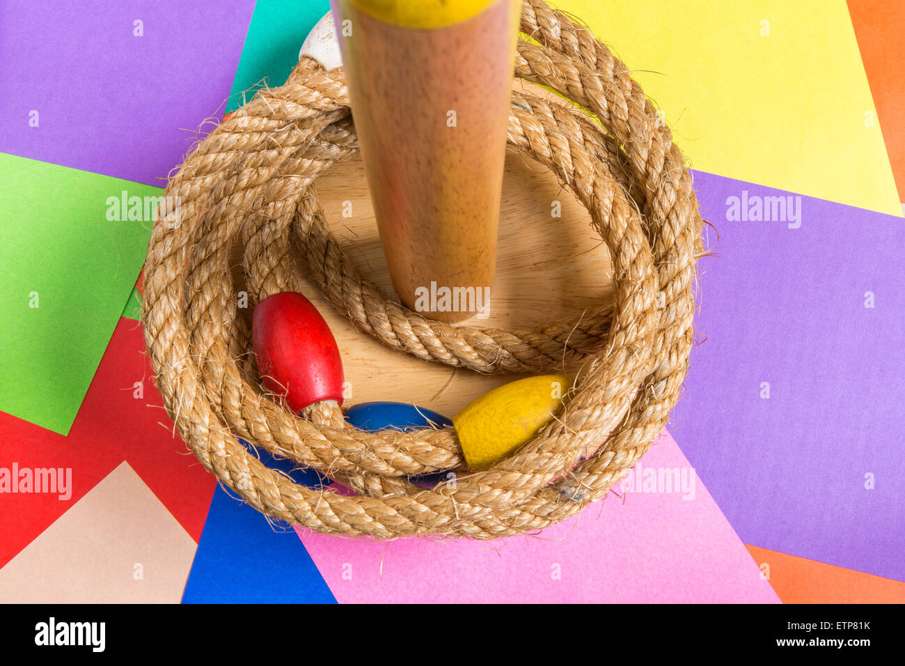 Ring toss game is a child's favorite toy. - Stock Image