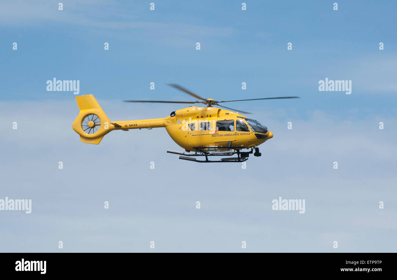 EC145T- 2 on crew training flight at Dalcross Airport Inverness Scotland.  SCO 9868. - Stock Image