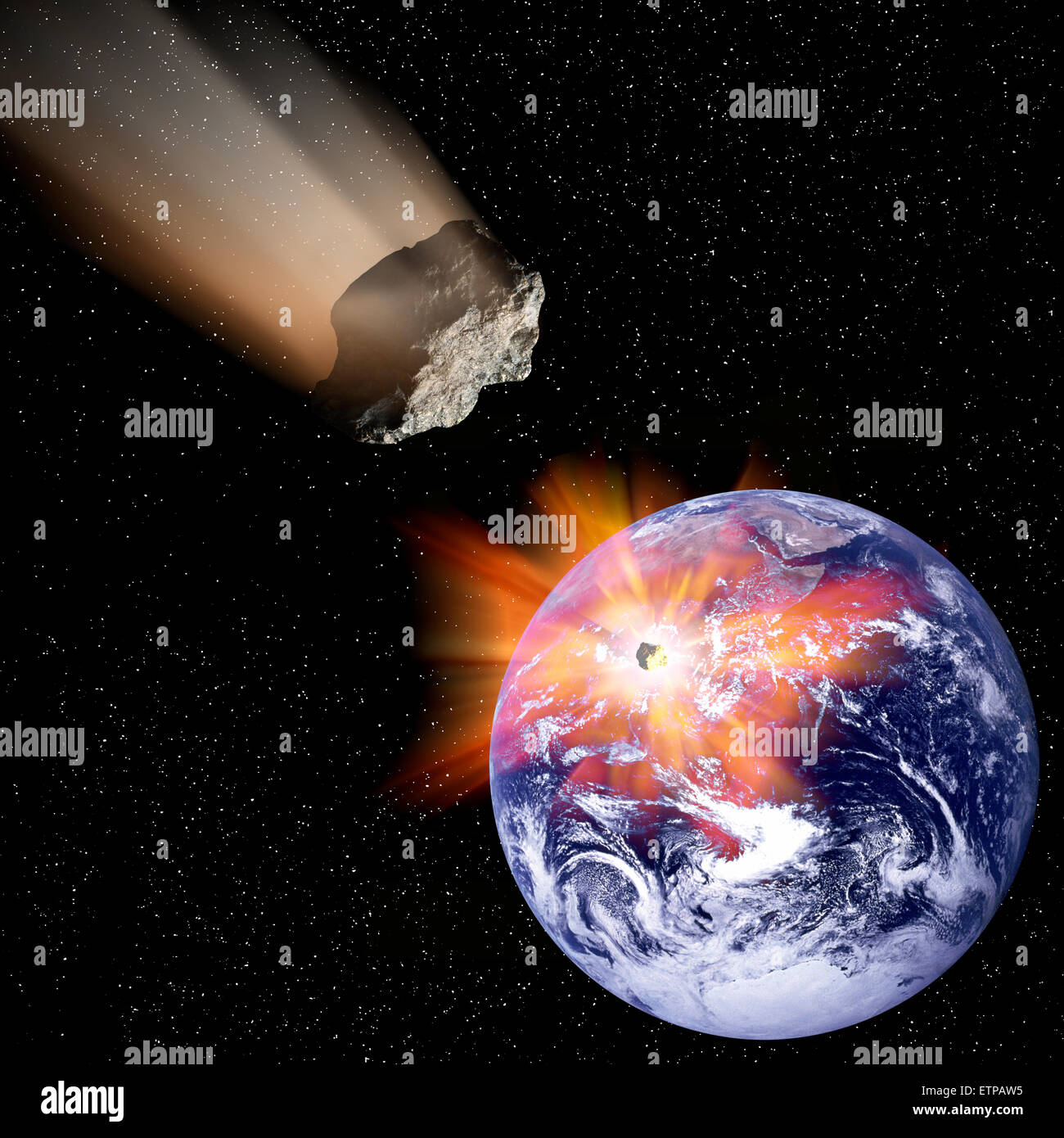 Meteor collision with Earth. - Stock Image