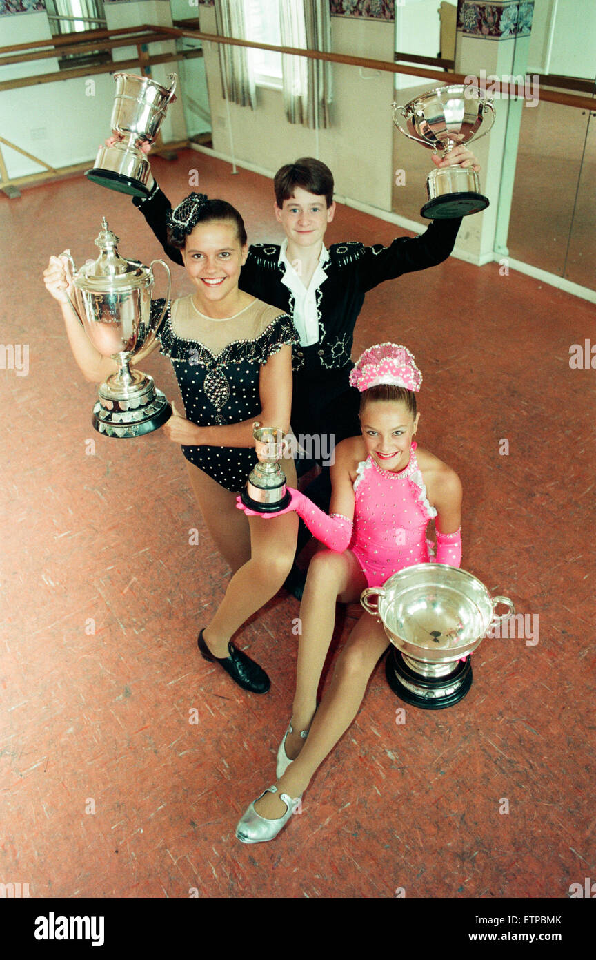 Michelle Robinson, 17, Mark Richardson, 15, and Joanne Yuille, 13, from Maloney's School of Dancing, Middlesbrough, - Stock Image