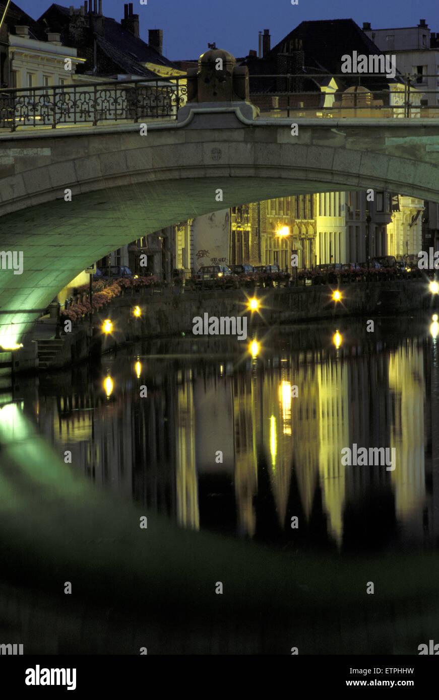 BEL, Belgium, Gent, Saint Michael bridge across the river Leie.  BEL, Belgium, Gent, St. Michaelsbruecke ueber die Stock Photo