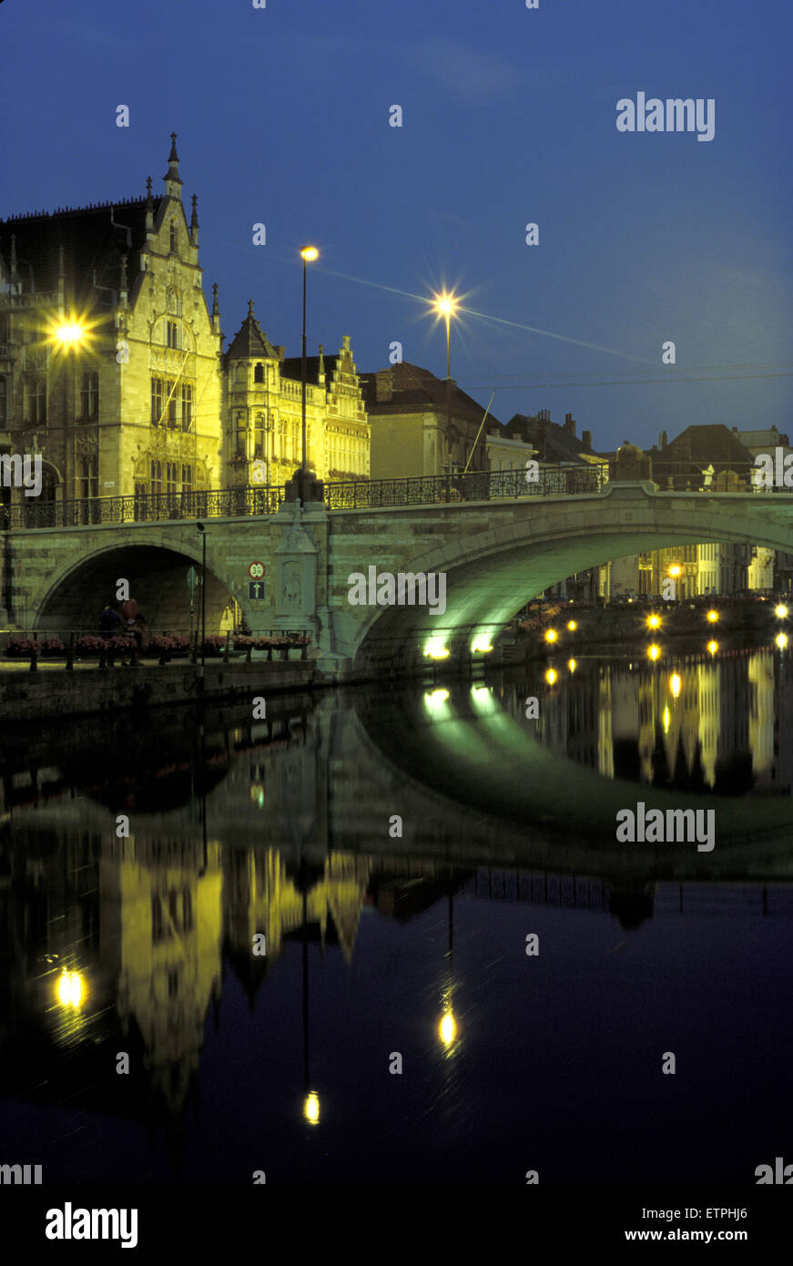 BEL, Belgium, Gent, Saint Michael bridge across the river Leie.  BEL, Belgium, Gent, St. Michaelsbruecke ueber die Stock Photo