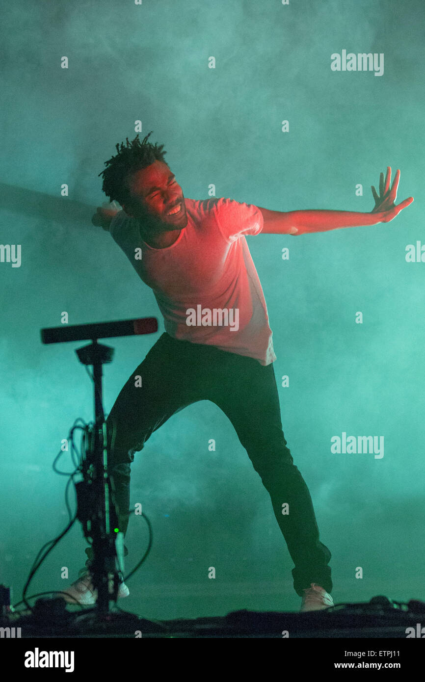 June 13, 2015 - Manchester, Tennessee, U.S - Rapper DONALD GLOVER (aka CHILDISH GAMBINO) performs live on stage - Stock Image