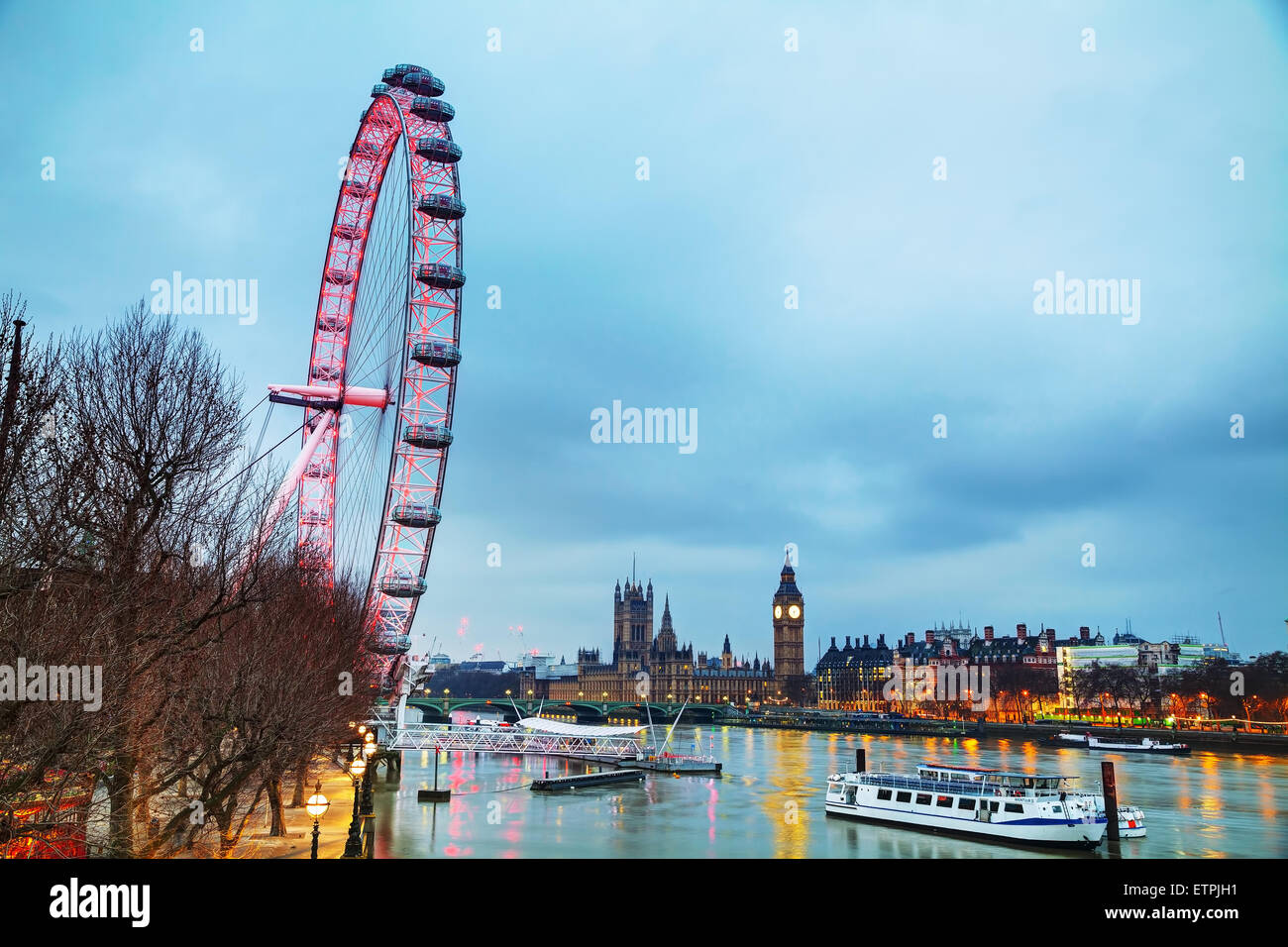 LONDON - APRIL 5: Overview of London with the Coca-Cola London Eye on April 5, 2015 in London, UK. - Stock Image