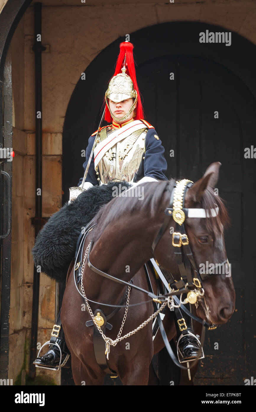 LONDON - APRIL 4: Life Guard of the Household Cavalry on April 4, 2015 in London, UK. - Stock Image