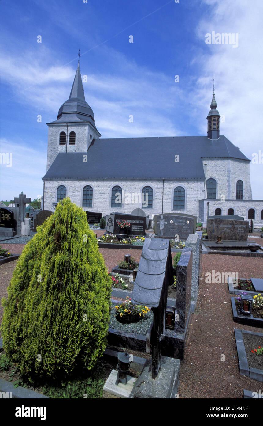 BEL, Belgium, Eastbelgium, the Hubertus church in the village Lontzen.  BEL, Belgien, Ostbelgien, die Hubertuskirche Stock Photo