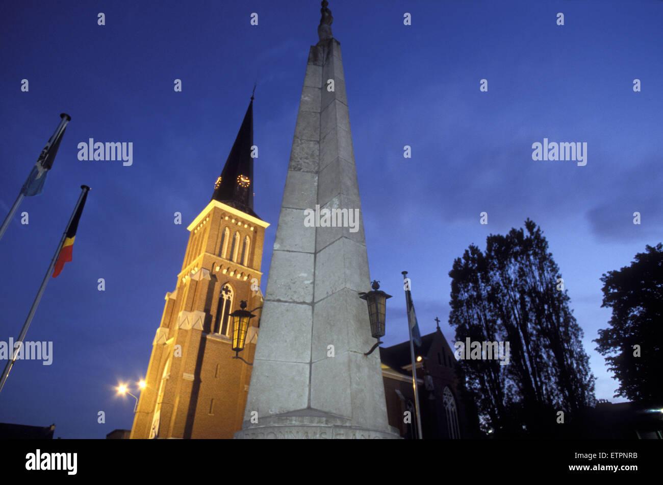 BEL, Belgium, Eastbelgium, Kelmis, Calamine, church St. Maria Himmelfahrt and the war monument.  BEL, Belgien, Ostbelgien, Stock Photo
