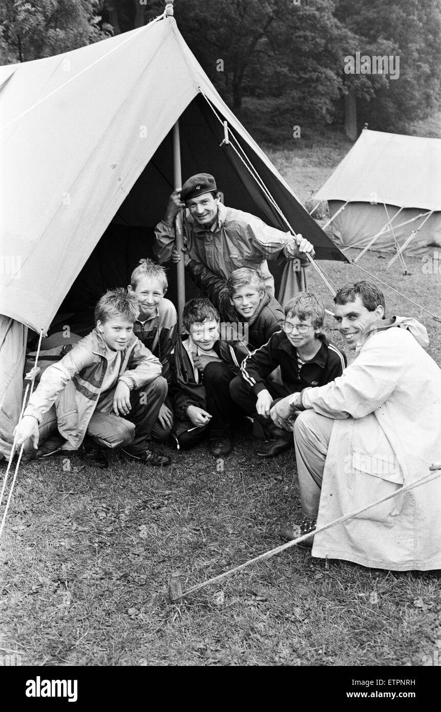 The 65th anniversary of scouting in the Holme Valley was celebrated at weekend camp. The Holme Valley District Go - Stock Image
