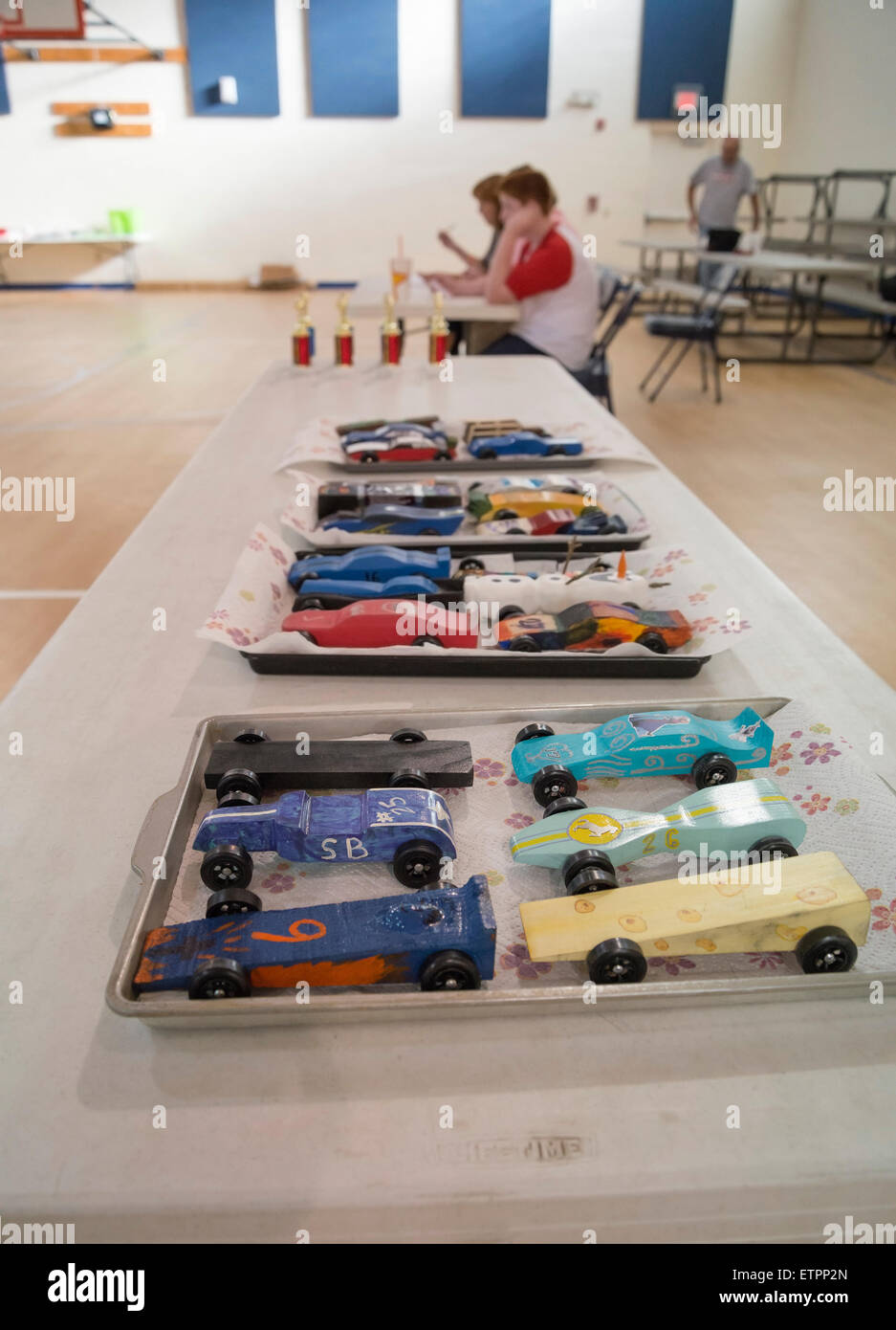 Model car races for kids at First Baptist Church of High Springs Florida. - Stock Image