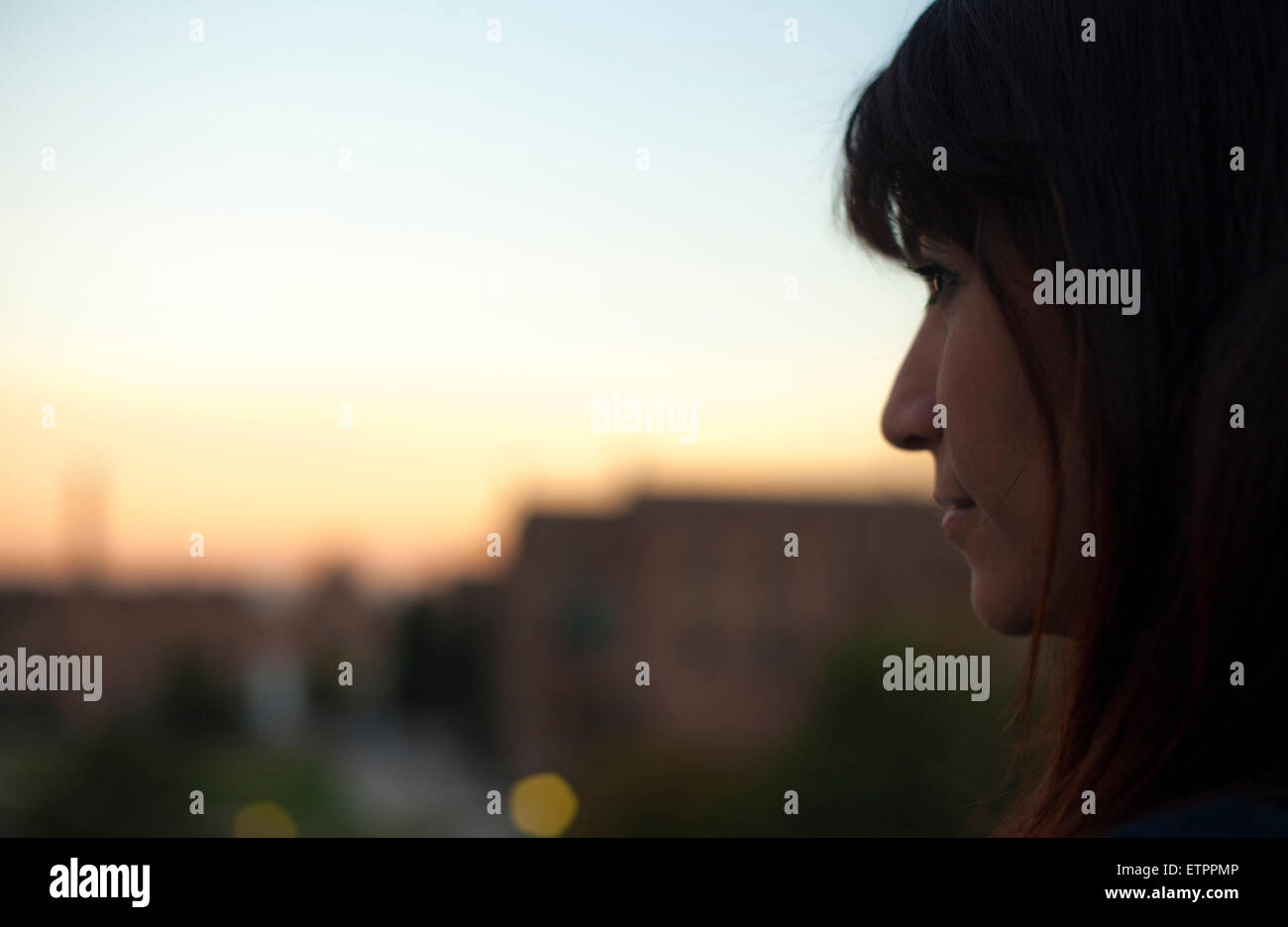 young woman, watching, thoughtful wistful, portrait, Barcelona, Spain, Europe, - Stock Image