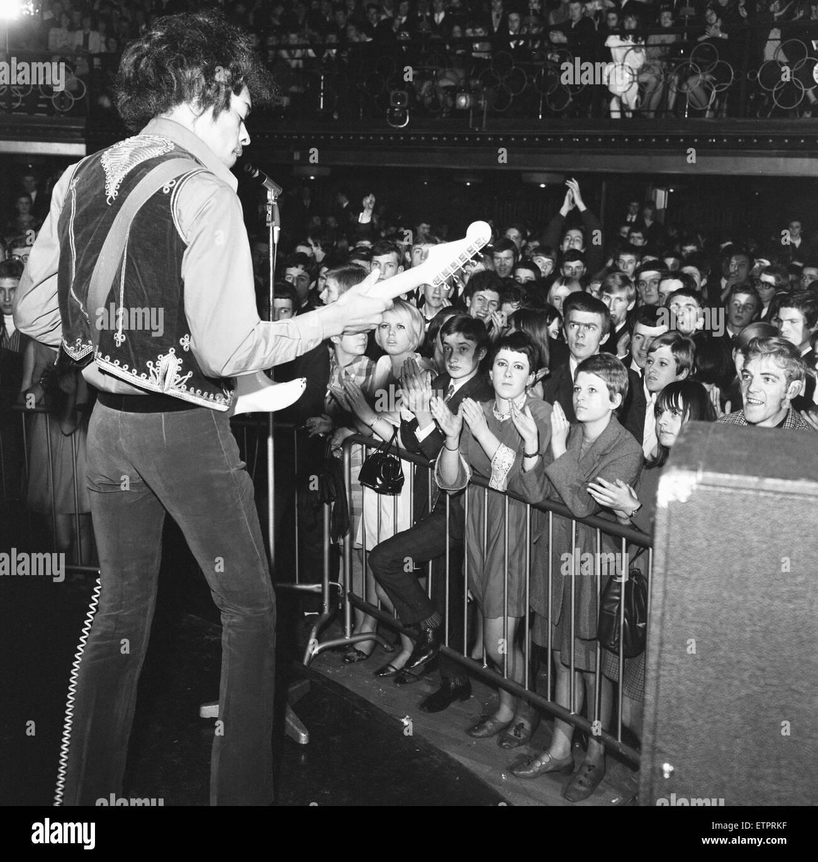 Jimi Hendrix seen here performing at the Locarno Ballroom Bristol. 9th February 1967 Stock Photo