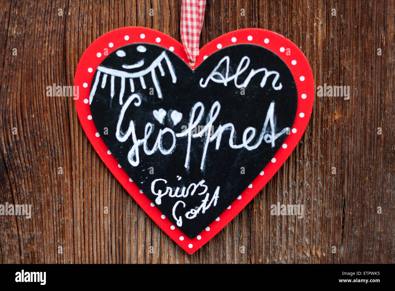Labeled heart at the entrance of an alpine hut, Austria, Tyrol, Zillertal, Klausenalm - Stock Image