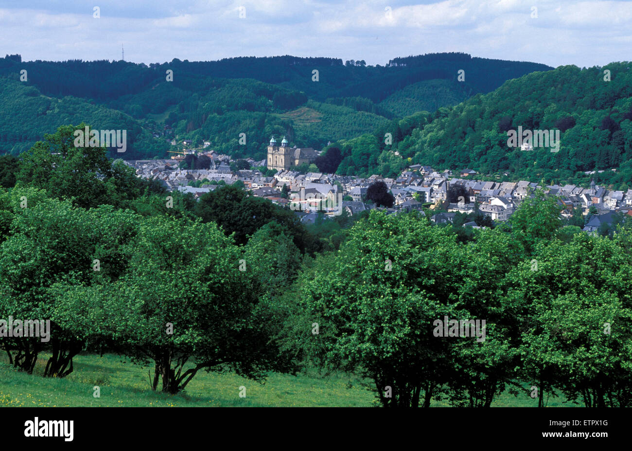 BEL, Belgium, Eastbelgium, view to the city of Malmedy.  BEL, Belgien, Ostbelgien, Blick auf Malmedy. Stock Photo