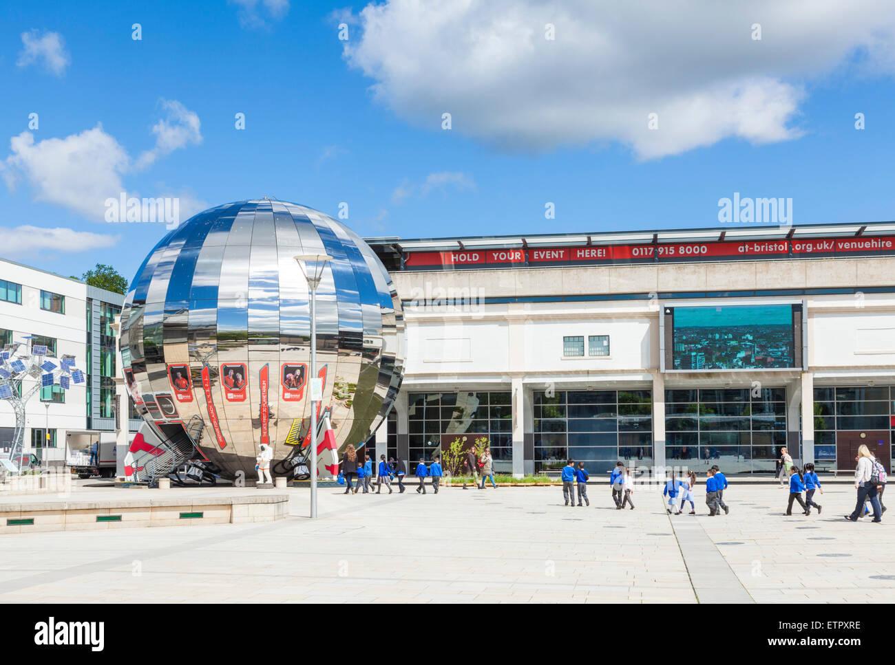 School Children visiting Planetarium sphere at Bristol Millennium Square Bristol Avon England UK GB EU Europe - Stock Image