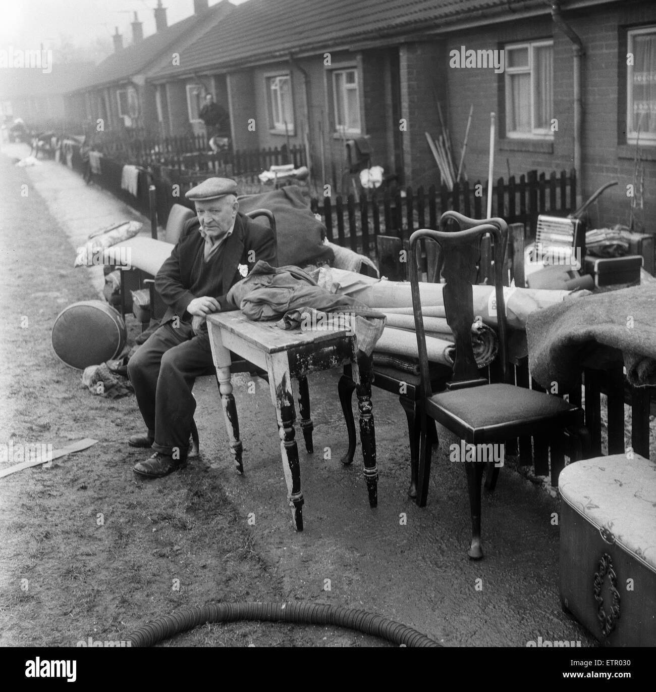 Aftermath of floods at Morpeth, Northumberland  in the northeast of England, 9th March 1963. - Stock Image