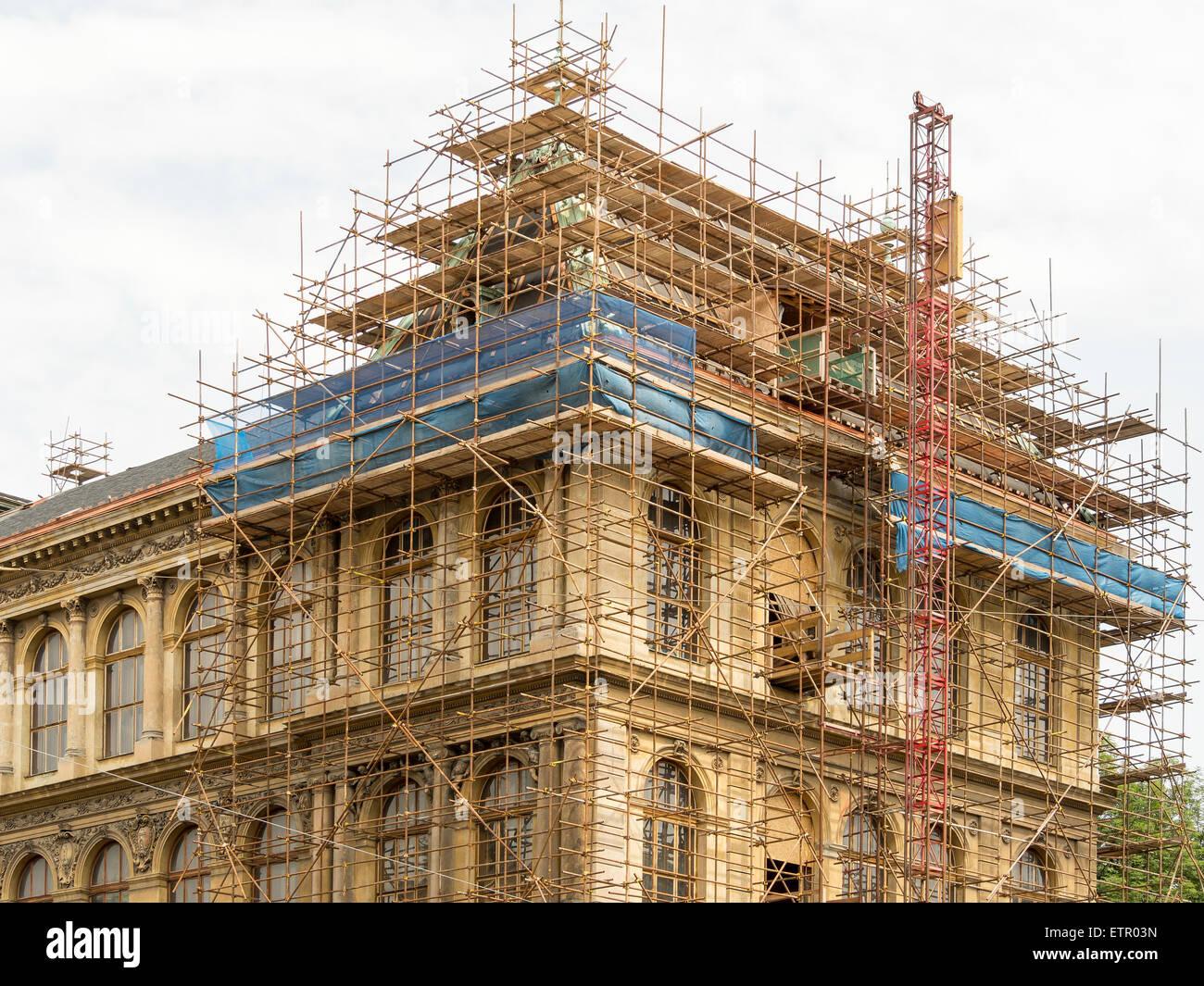 Fragment of scaffolding in Prague Stock Photo