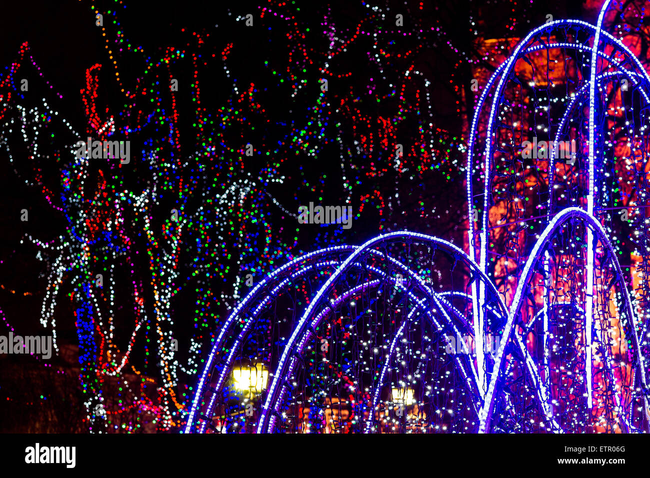 Winter illumination of trees and fountains in Moscow - Stock Image