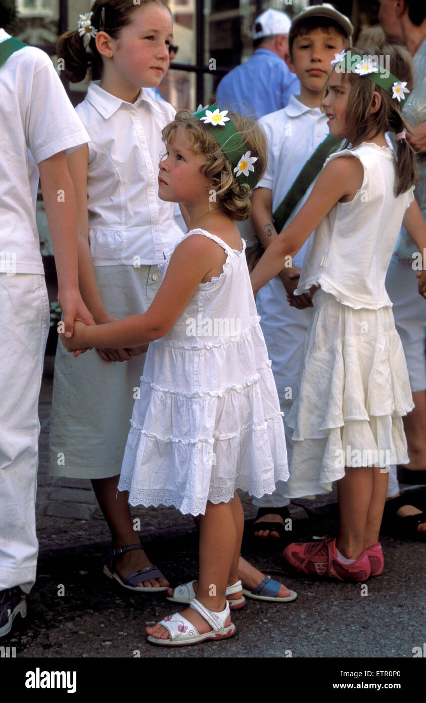 BEL, Belgium, Eastbelgium, Malmedy, pageant of girls and boys at the 24th of June, Rondes de la Saint-Jean.  BEL, Stock Photo