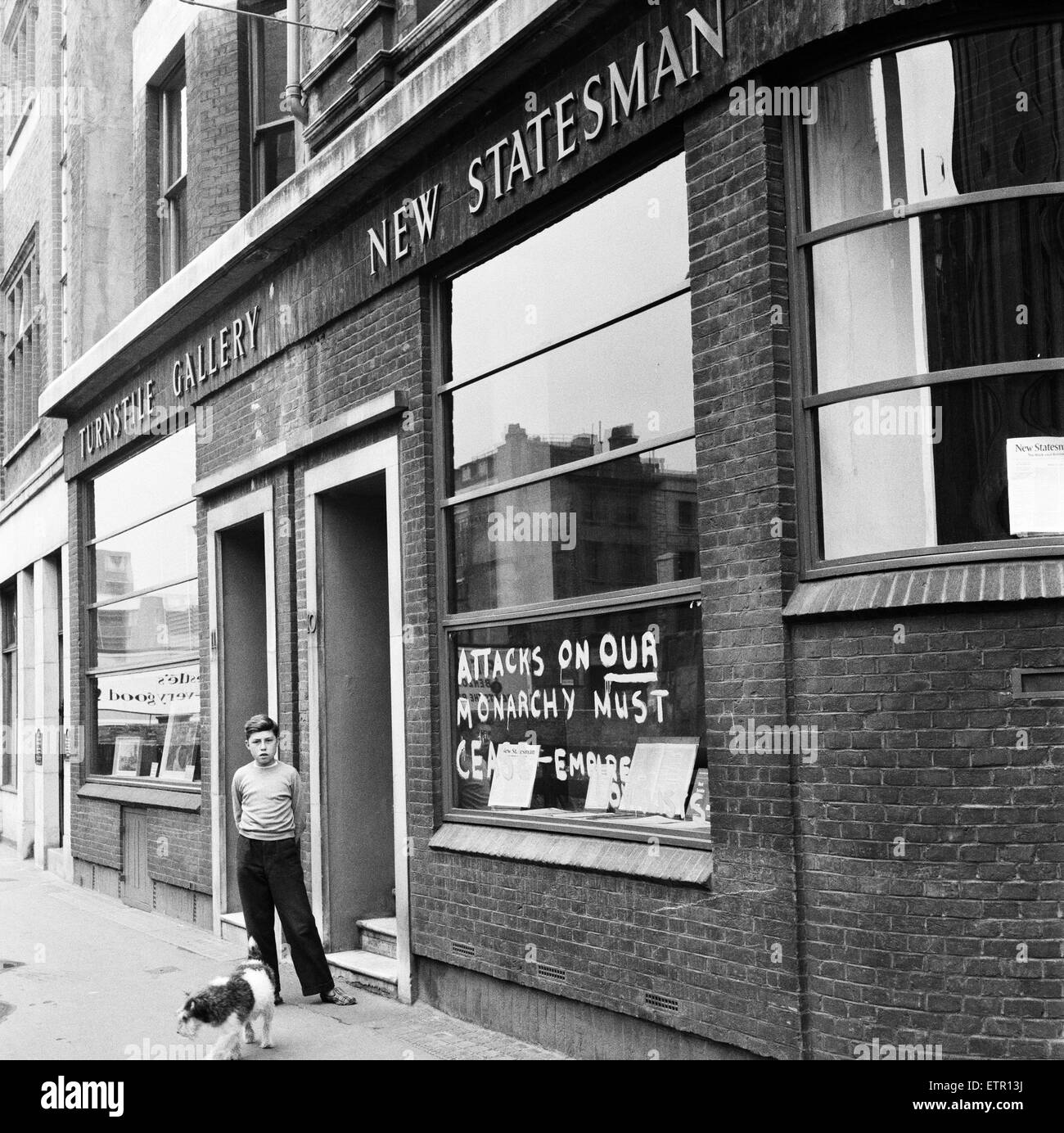Empire Loyalists paint slogans on homes of the Queen's critics. 18th August 1957. - Stock Image