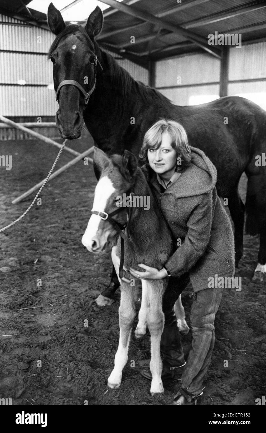 International Showjumper Debbie Johnsey, aged 20, and her new foal, Santa, born on Christmas Eve, and the foal's Stock Photo