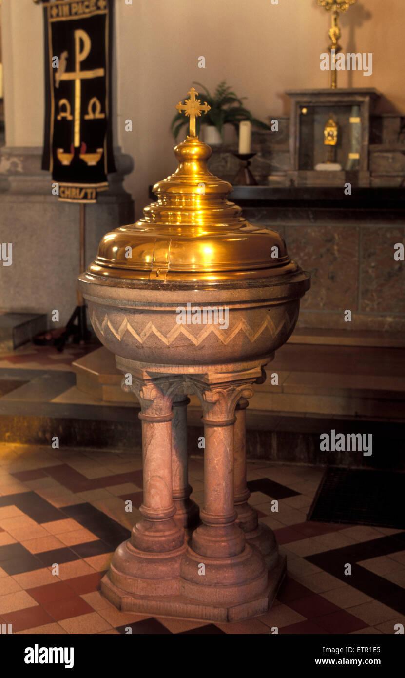 BEL, Belgium, Eastbelgium, Buetgenbach, baptismal  font in the church St. Stephanus.  BEL, Belgien, Ostbelgien, Stock Photo