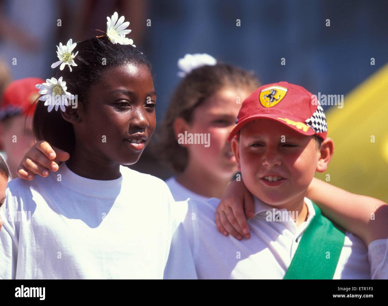 BEL, Belgium, Eastbelgium, Malmedy, pageant of girls and boys at the 24th of June, Rondes de la Saint-Jean.  BEL, Stock Photo