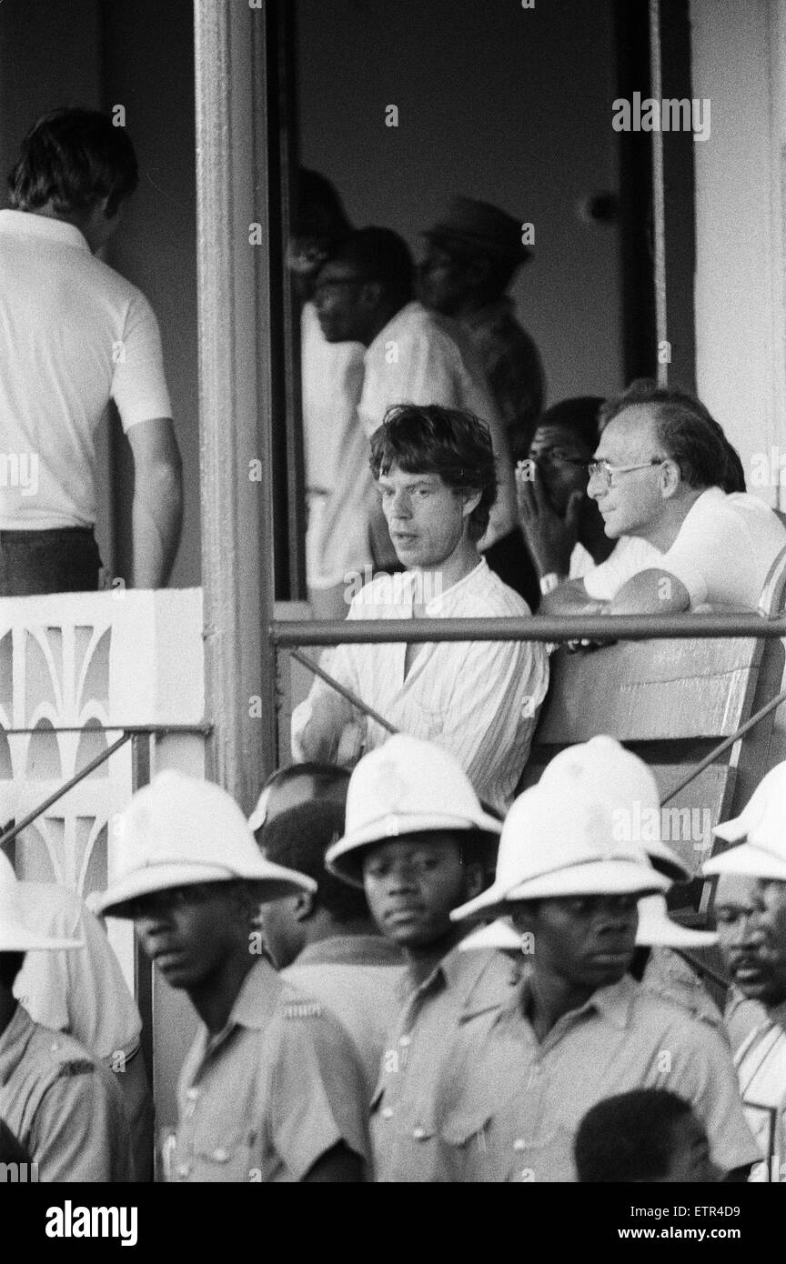 Mick Jagger, watching cricket match from the Pavilion, Kensington Oval, Bridgetown, Barbados, 20th March 1981. - Stock Image