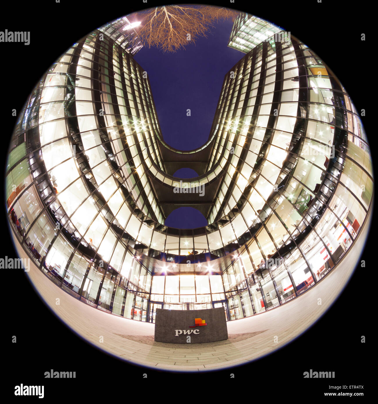 Fish eye view of PWC (Price Waterhouse and Coopers) office at More London - Stock Image