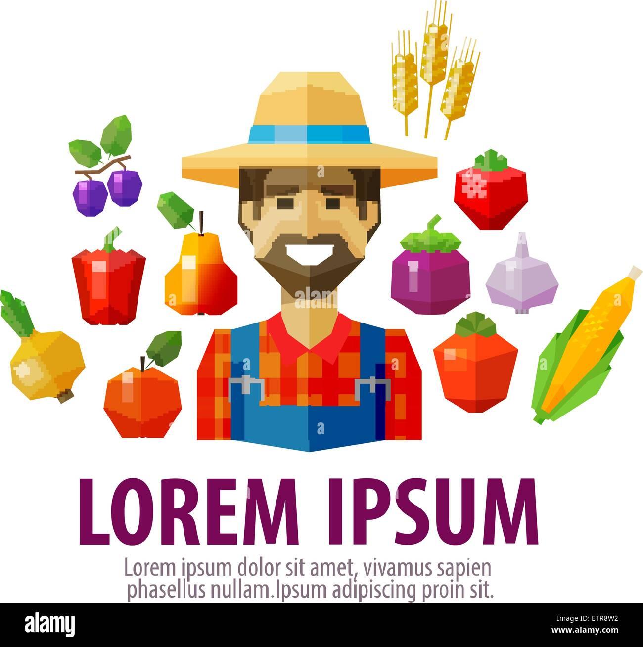 farmer vector logo design template. harvest or agriculture, farming icon - Stock Image