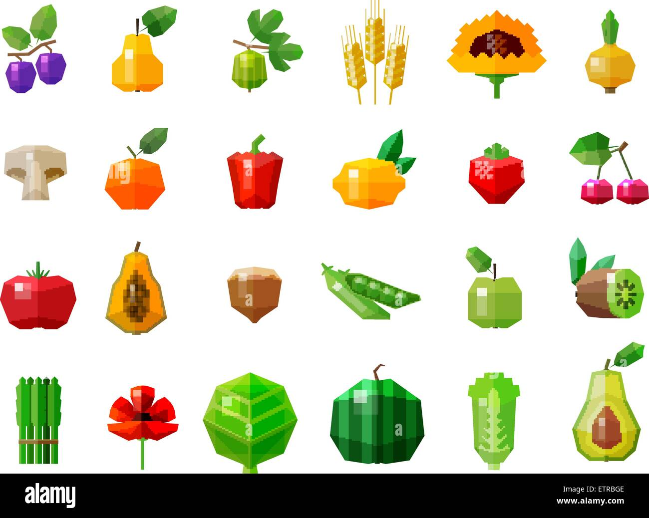 fresh food. fruits and vegetables set icons - Stock Vector