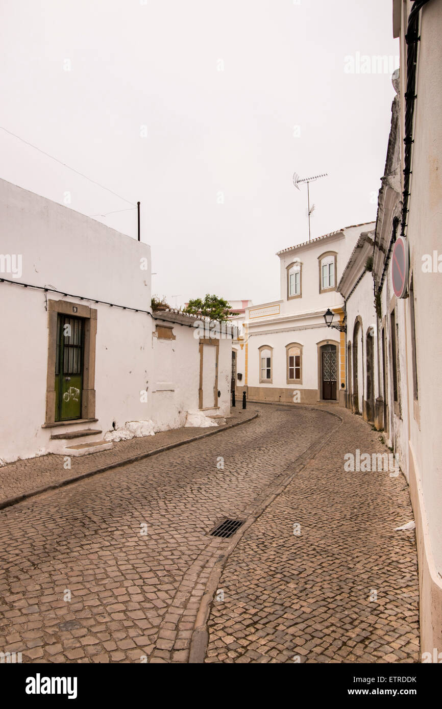 View of the typical streets of the Sao Bras de Alportel village, Portugal. - Stock Image