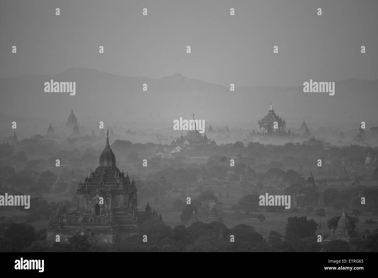Aerial view of ancient temples (more than 2200 temples) of Bagan at sunrise in Myanmar - Stock Image