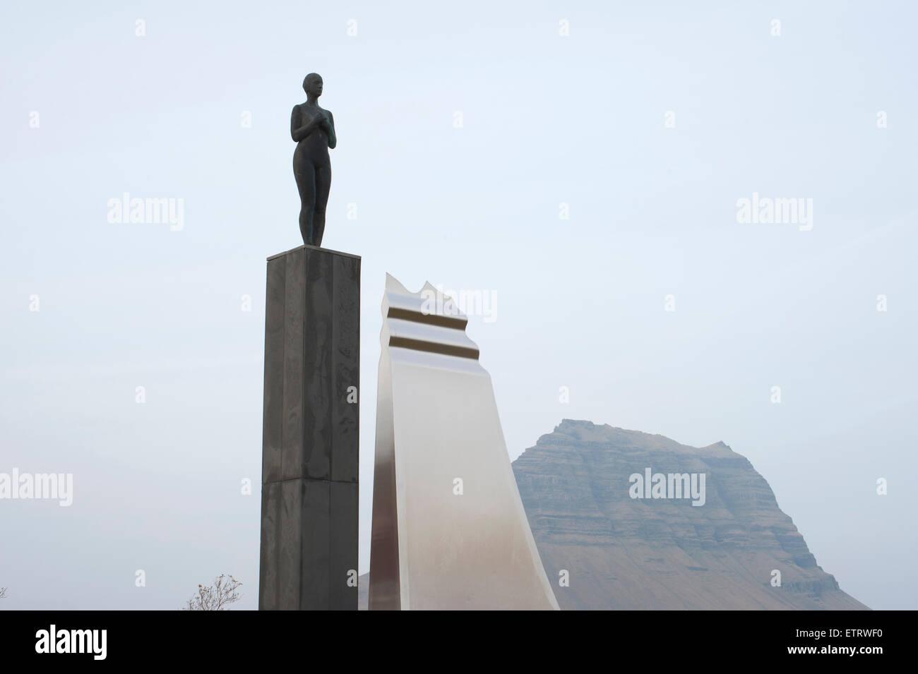SYN sculpture, Grundafjördur, Snaefellsnes, West Iceland - Stock Image
