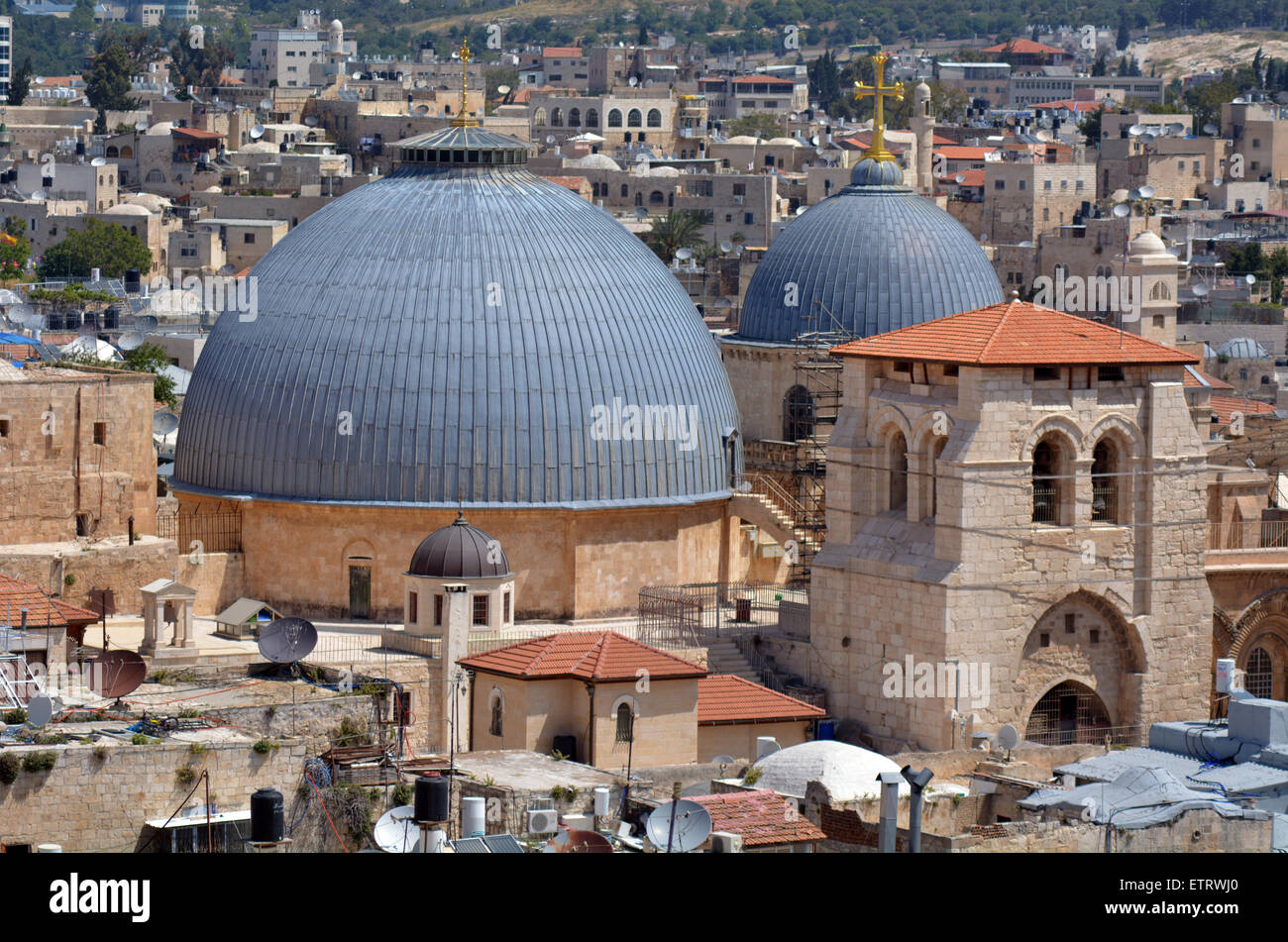 Urban aerial view of the Church of the Holy Sepulchre,Church of the Resurrection, at the old city of Jerusalem, - Stock Image