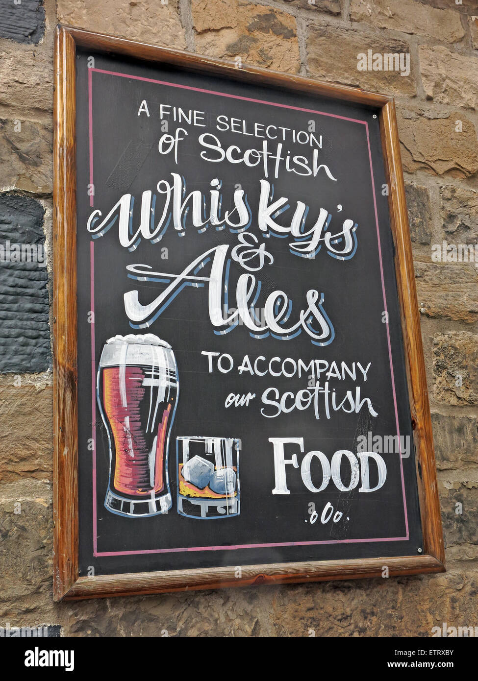 Sign, A fine selection of Scottish Whiskys & ales to accompany our Scottish food - Stock Image
