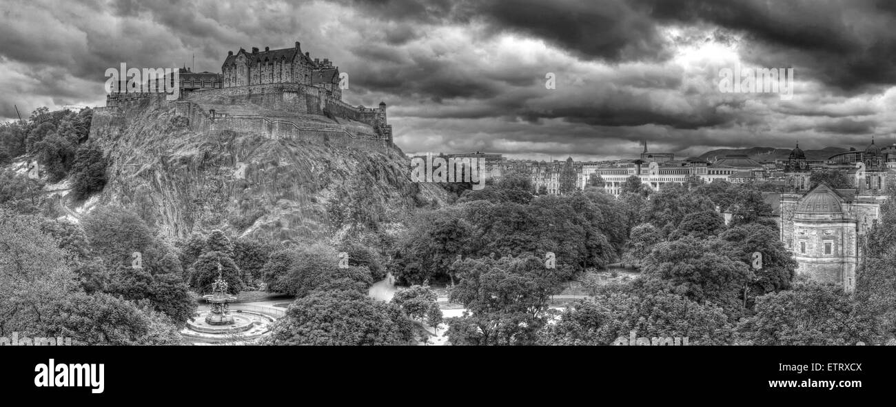 B/W Panorama of Edinburgh Castle, on The Mound, Scotland, UK Stock Photo