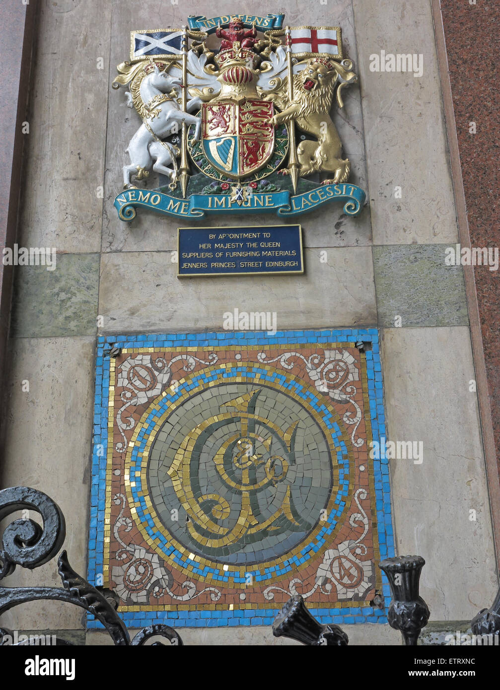 Jenners Department Store Princes St Edinburgh Scotland UK - Royal appointment crest and logo - Stock Image