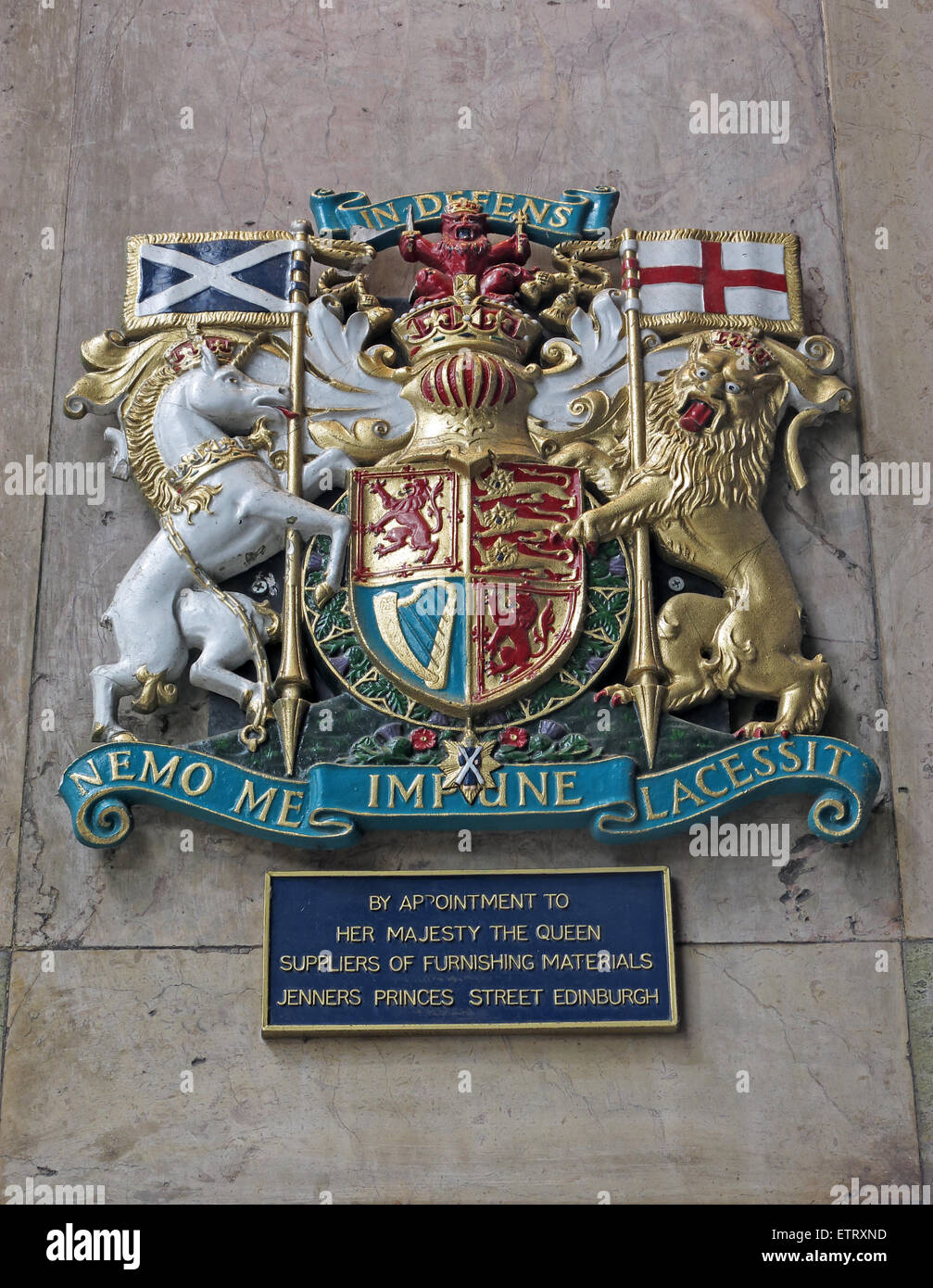 Jenners Department Store Princes St Edinburgh Scotland UK - Crest by royal appointment - Stock Image