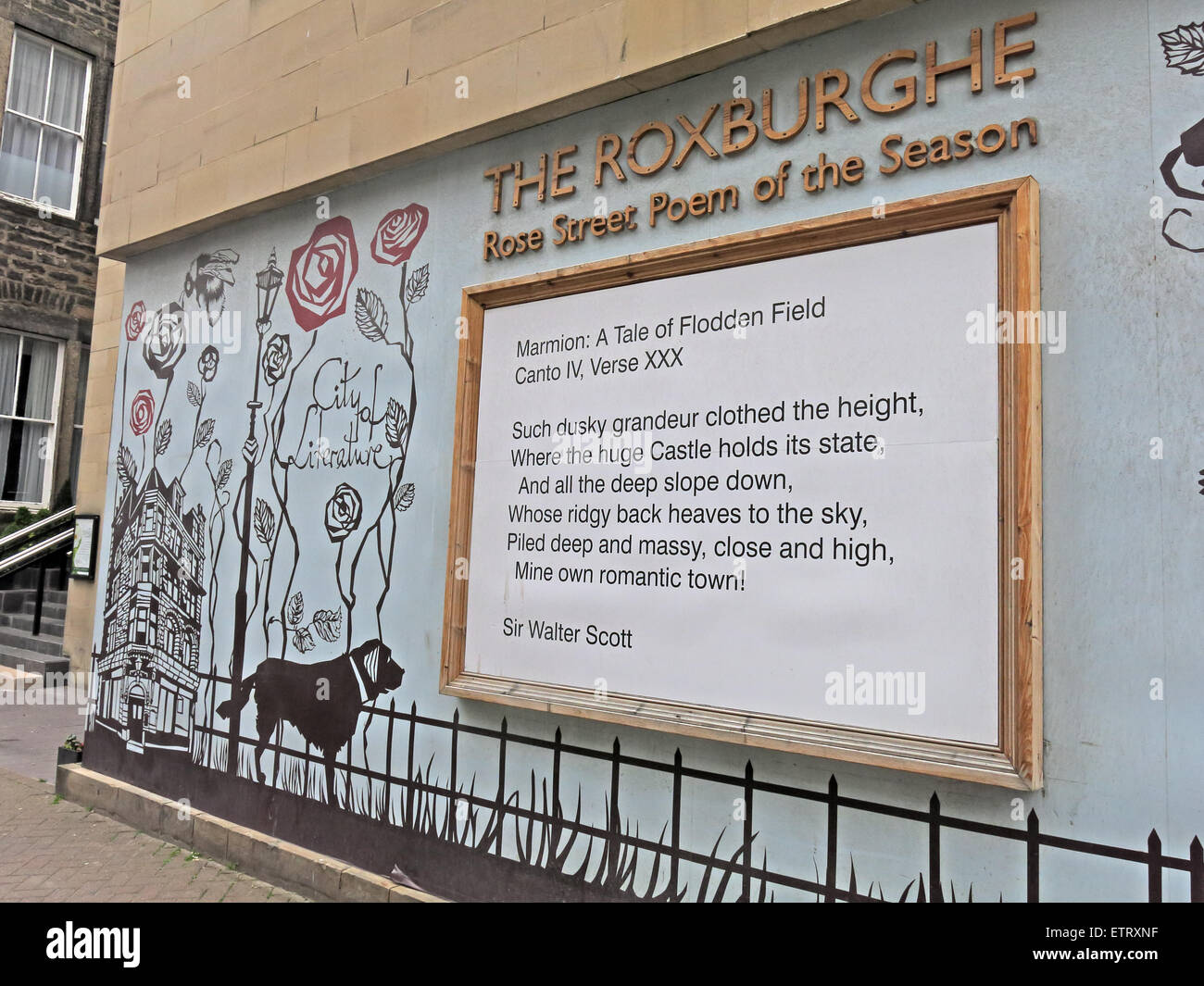 The Roxburghe poem Of The Season, Rose St, Edinburgh, Scotland, UK, a project by Astrid Jaekel - Stock Image