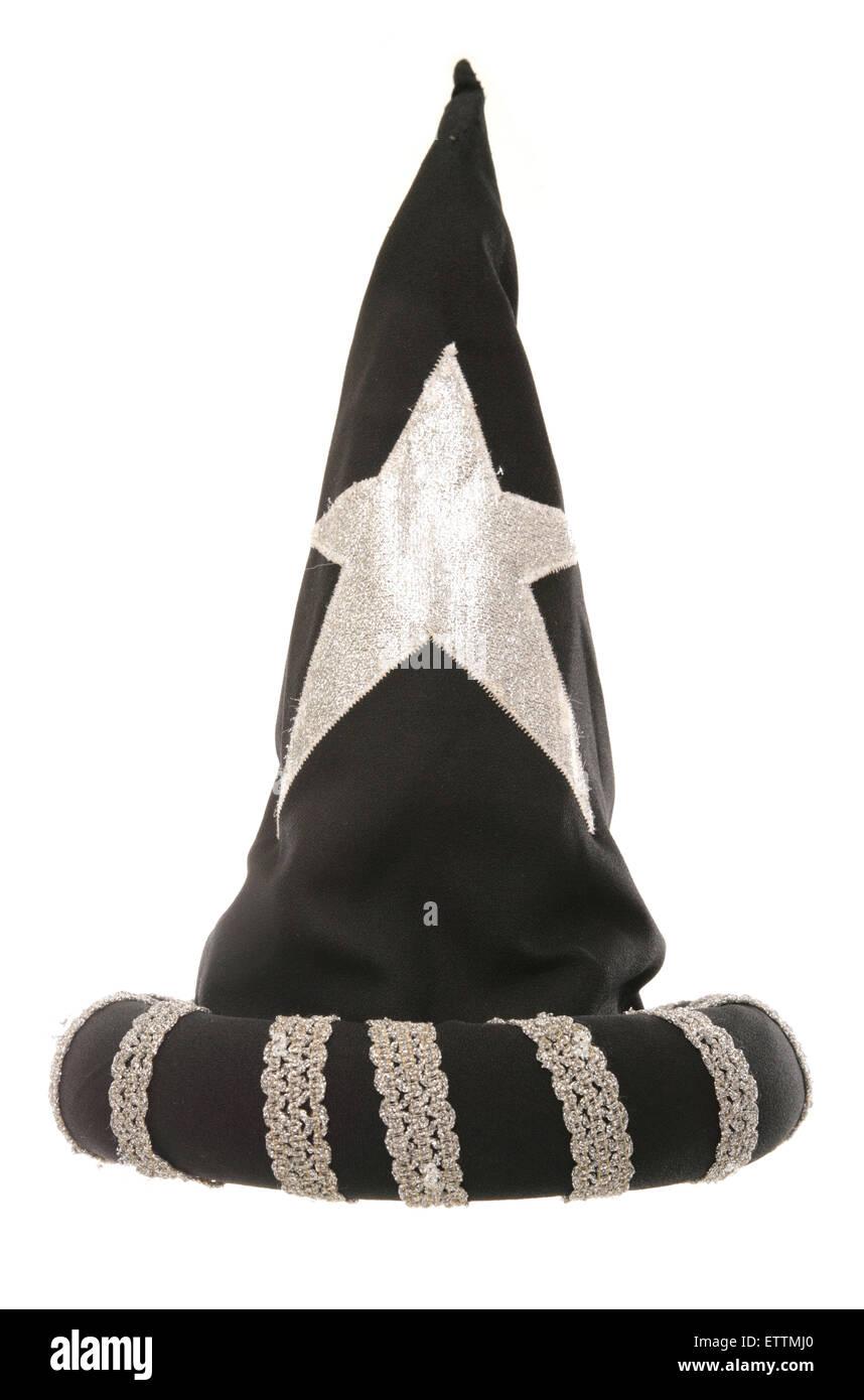 black wizard hat studio cutout - Stock Image