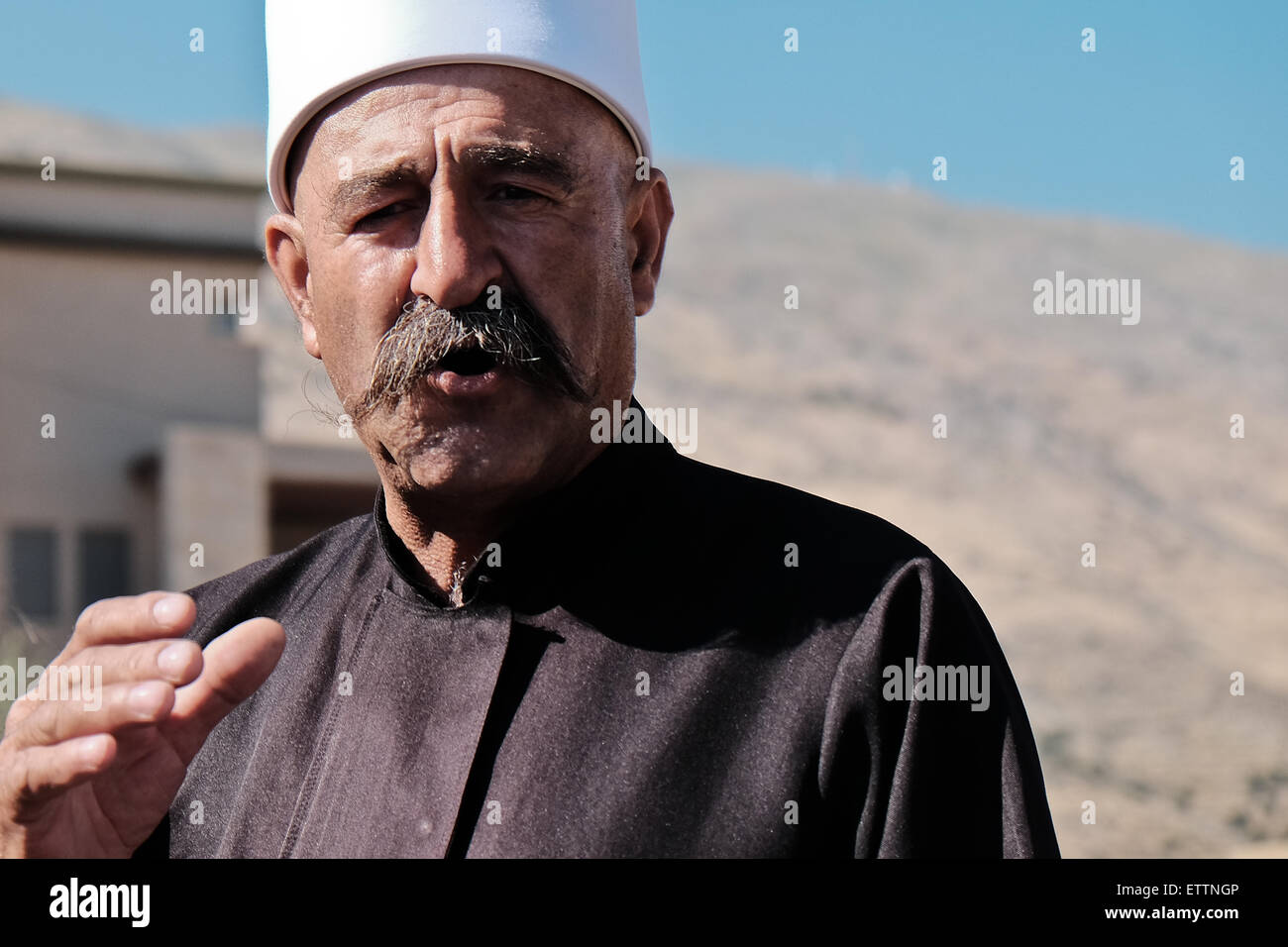 "Majdal Shams, Israel. 15th June 2015. Sheik HAYEL SHARAF of the Druze village of Ein Kinya; ""the border here is Stock Photo"
