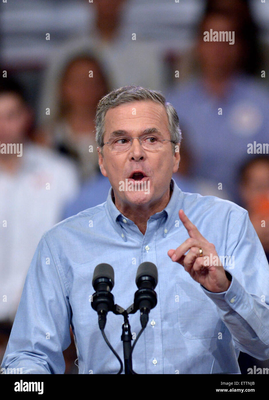 Miami, USA. 15th June, 2015. Former Florida Governor Jeb Bush speaks at Kendall campus of Miami Dade College in - Stock Image
