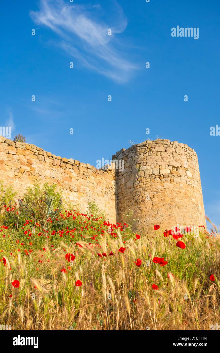 Medievil castle on hill in Aguilar de Campoo, Palencia province, Castile and Leon, Spain - Stock Image