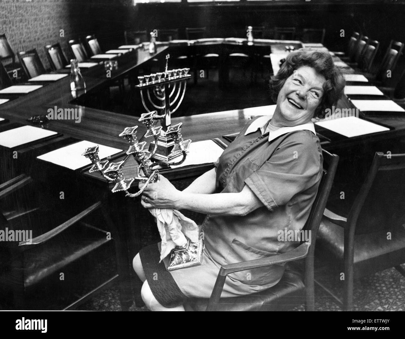 Mrs Sally Beddows - up with the lark in the morning at Bootle Town Hall.  1st December 1972. - Stock Image
