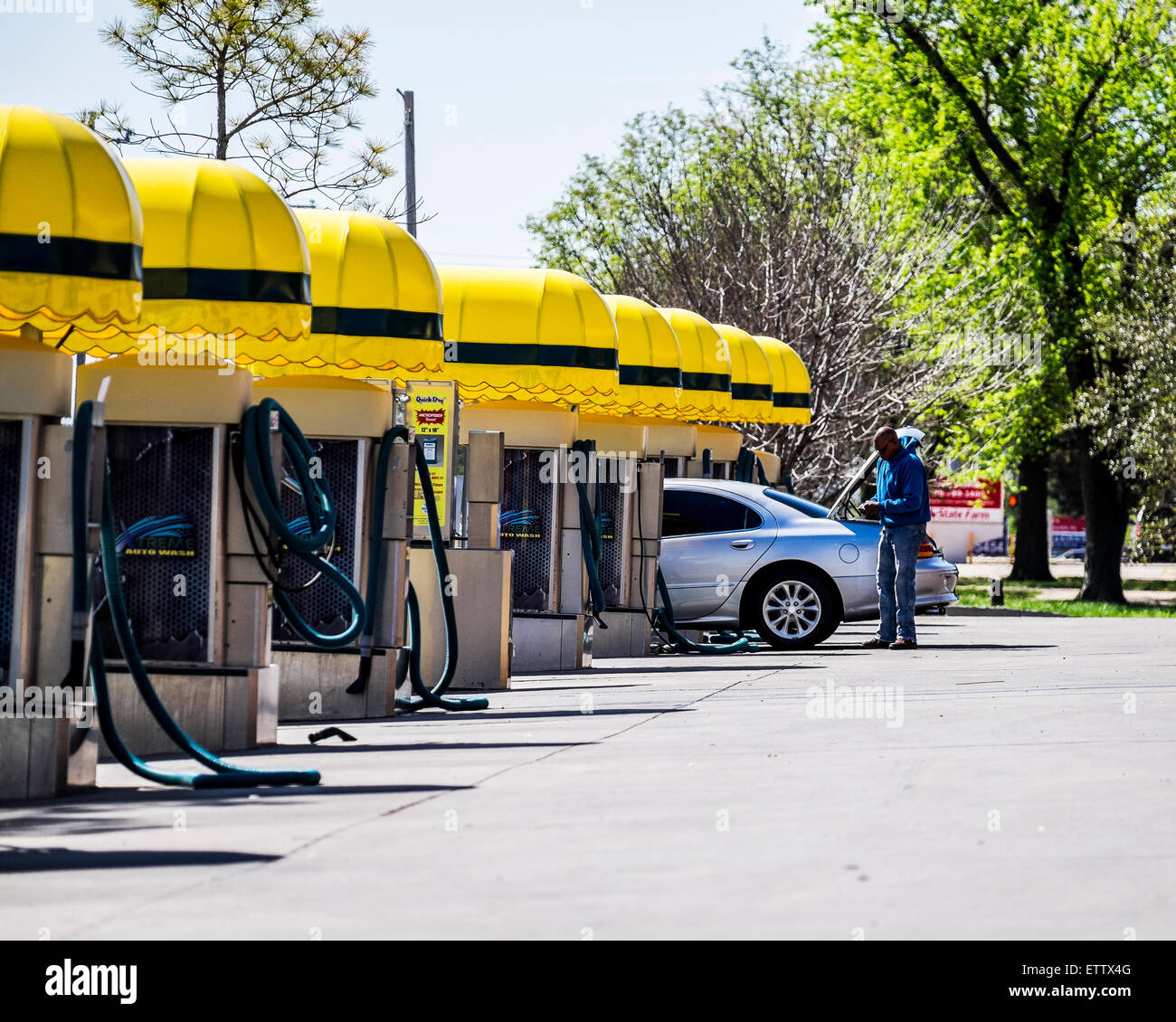 Automobile Vacuum Stations At A Car Wash Business In