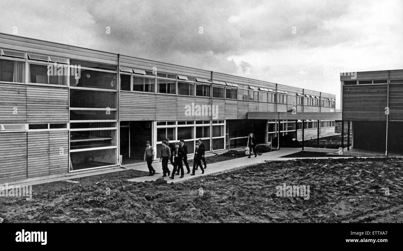 Pupils walk past the new block at  City of Coventry Boarding School in Cleobury Mortimer. 11th April 1966. - Stock Image