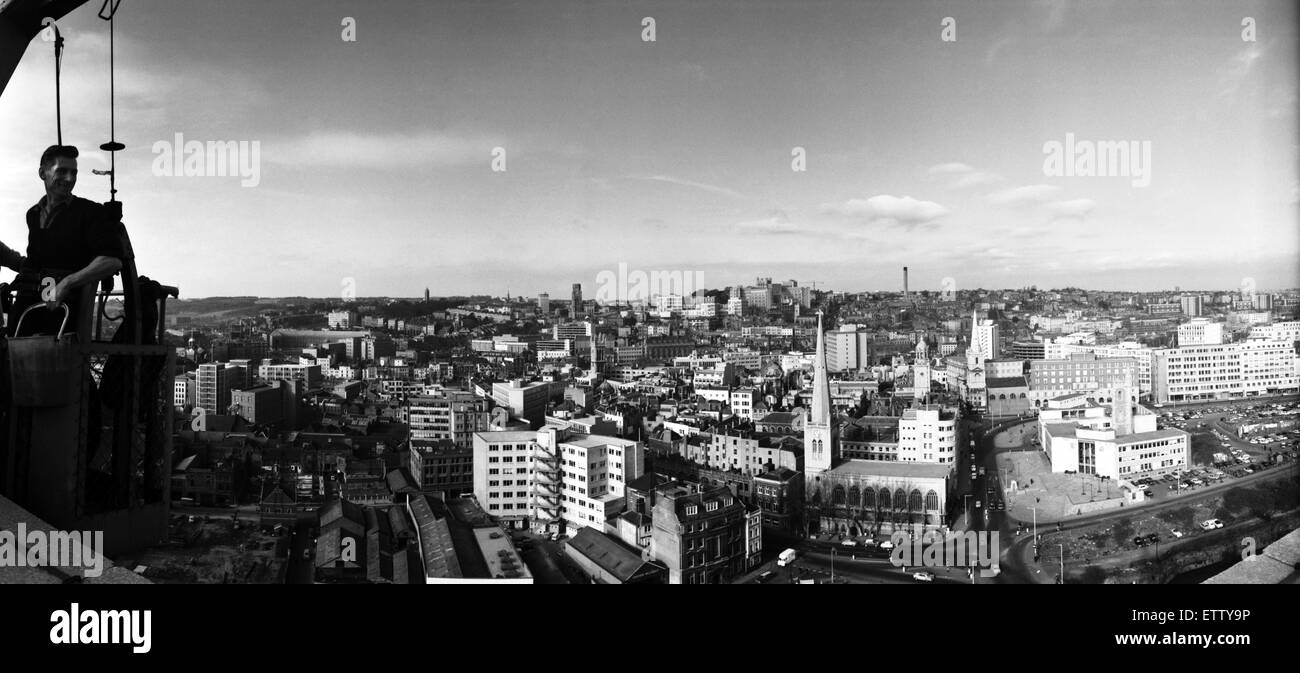 Panoramic view of Bristol from the roof of the ES &A Robinson and Son building.  The window cleaners in their - Stock Image