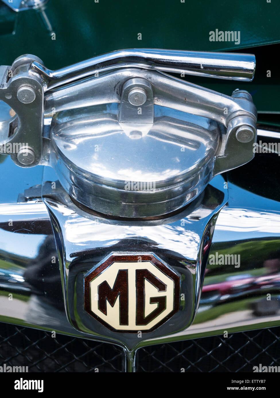 Radiator cap, 1933 MG L-Special, MG Car Rallye, Glenwood Springs, Colorado. - Stock Image